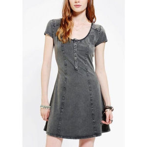 UO Acid-Wash Scoop Neck Henley Dress